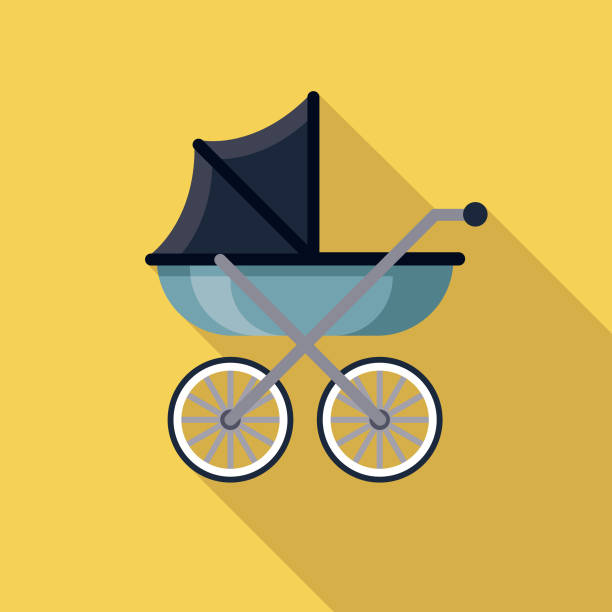 Baby Carriage Pregnancy Icon A flat design icon with a long shadow. File is built in the CMYK color space for optimal printing. Color swatches are global so it's easy to change colors across the document. baby carriage stock illustrations