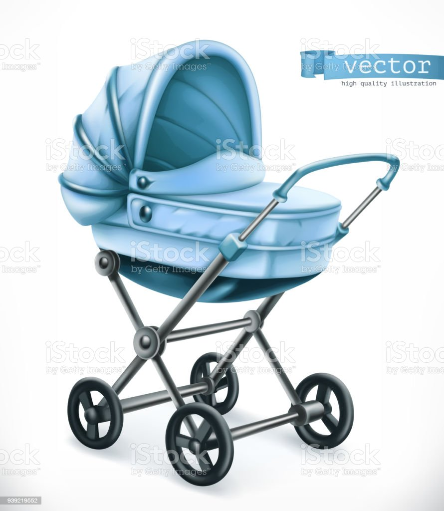 Baby carriage. Stroller 3d vector icon vector art illustration