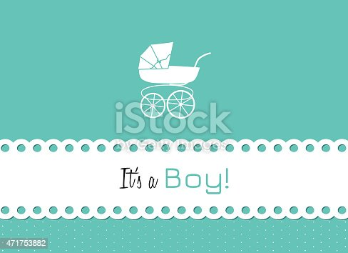 Baby Carriage To Announce The Birth Of A Little Man Stock Vector Art