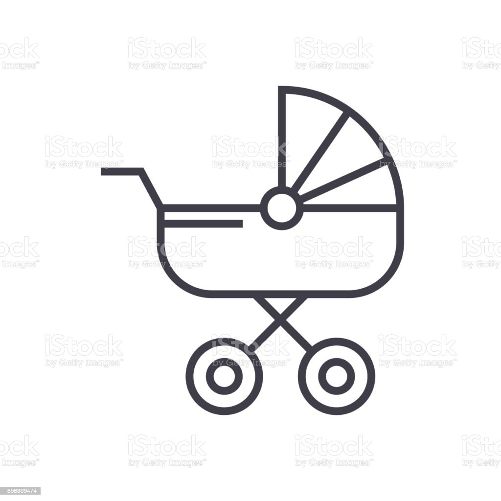 baby carriage vector line icon, sign, illustration on background, editable strokes vector art illustration