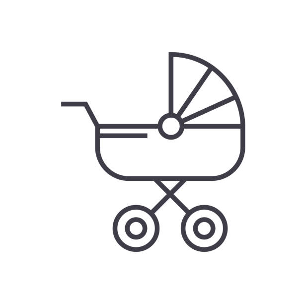 baby carriage vector line icon, sign, illustration on background, editable strokes baby carriage vector line icon, sign, illustration on white background, editable strokes baby carriage stock illustrations