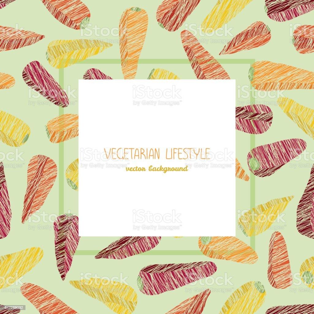 Baby carrots. Text frame. Grunge seamless pattern. vector art illustration