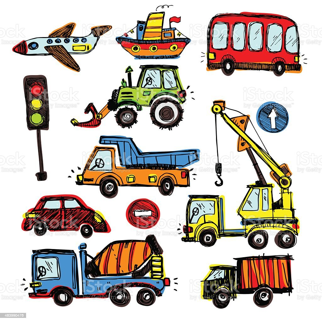 Baby Cars Set Funny Baby Toys Vector Doodle Collection Stock Vector ...