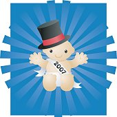 cute baby in a top hat with a 2007 banner