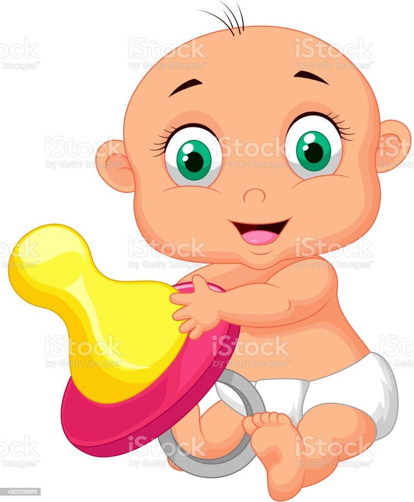 Baby cartoon holding pacifier vector art illustration