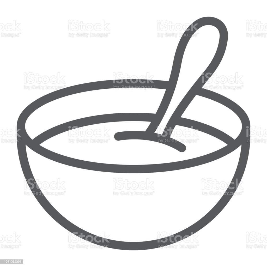 Baby cereal line icon, food and eat, dish sign, vector graphics, a linear pattern on a white background. - Royalty-free Alimentação Saudável arte vetorial