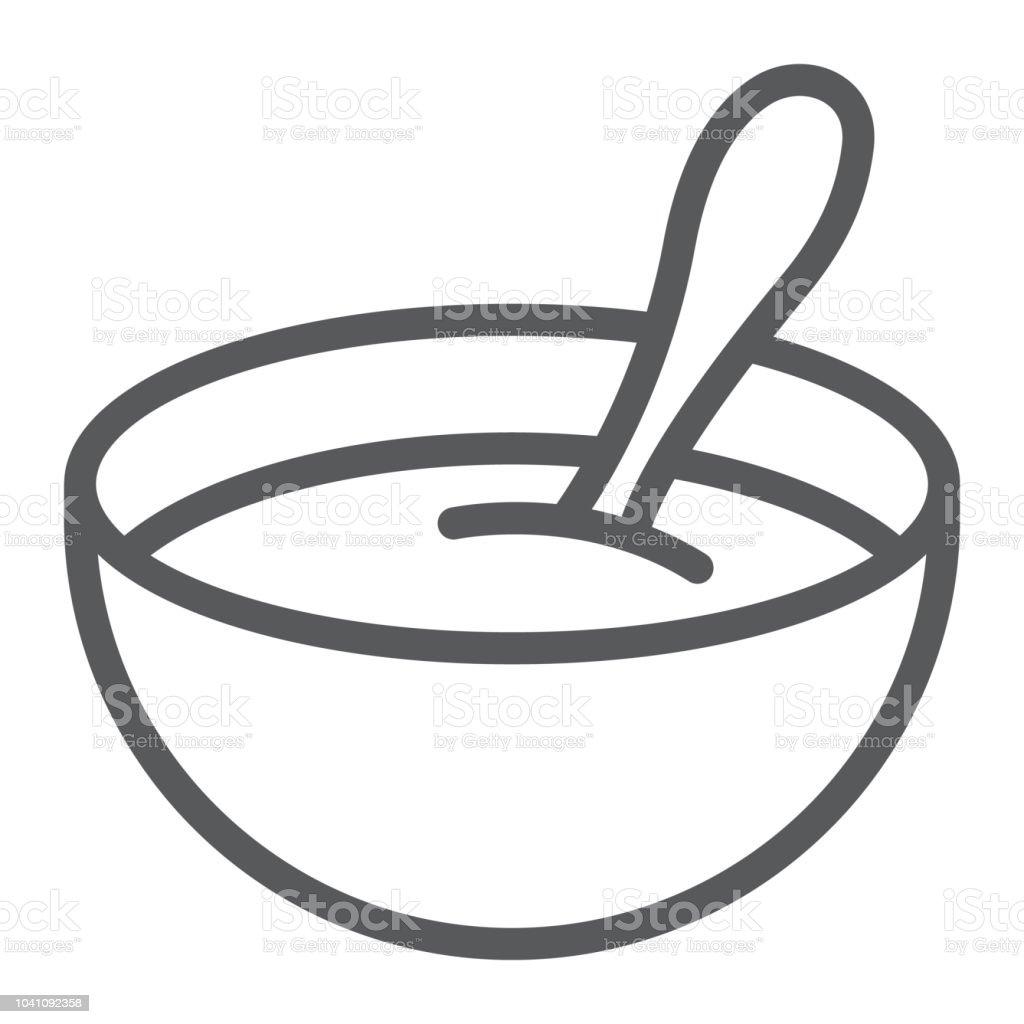 Ícone da linha de cereal, comida de bebê e comer, prato sinal, gráficos vetoriais, um padrão linear sobre um fundo branco. - ilustração de arte em vetor