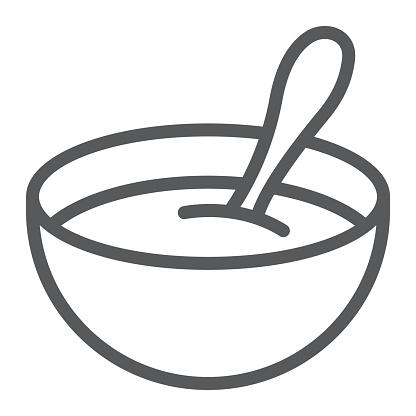 Baby Cereal Line Icon Food And Eat Dish Sign Vector Graphics A Linear Pattern On A White Background - Arte vetorial de stock e mais imagens de Alimentação Saudável