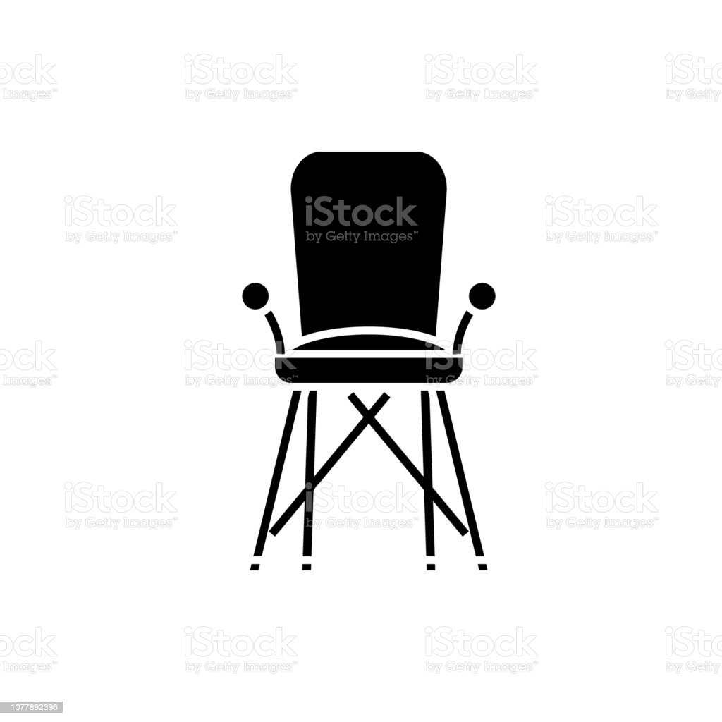 Baby Chair In Room Black Icon Vector Sign On Isolated Background