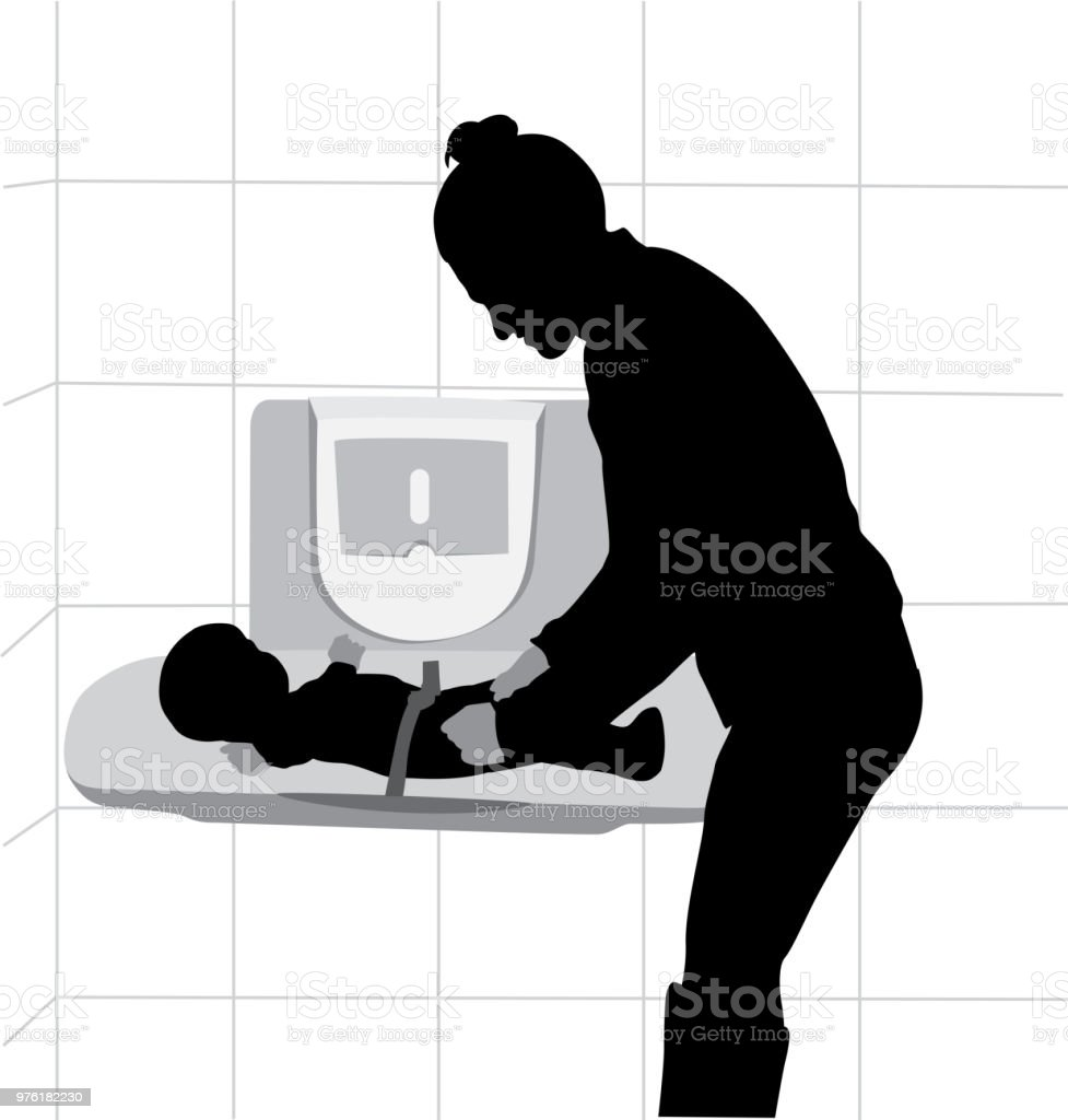 Baby Change Table vector art illustration