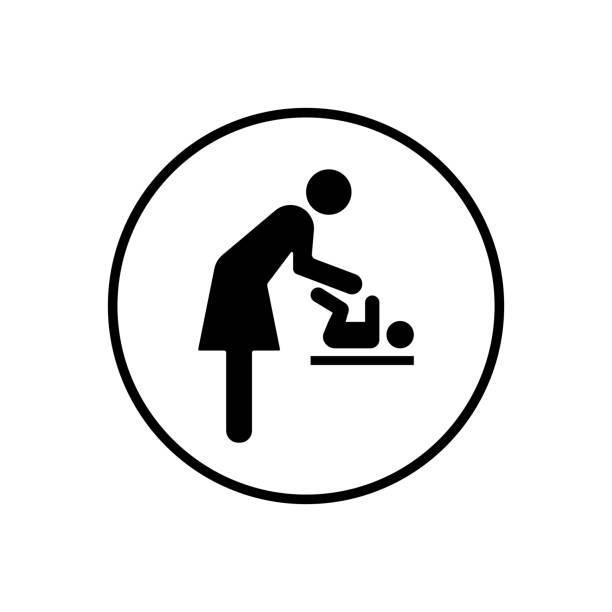 baby, windel wechseln, mutter - wickeltisch stock-grafiken, -clipart, -cartoons und -symbole