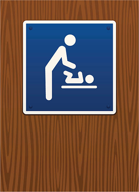 Baby changing station sign on wood grain background vector art illustration