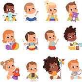 istock Baby characters. New born kids playing toys happy childhood small little one vector babies 1179587075