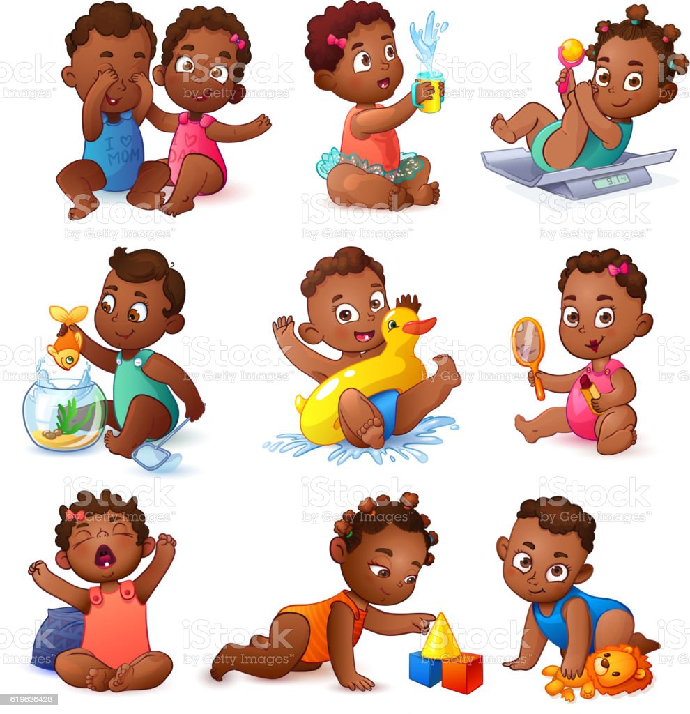 Baby children boys and girls. African American Kids vector art illustration