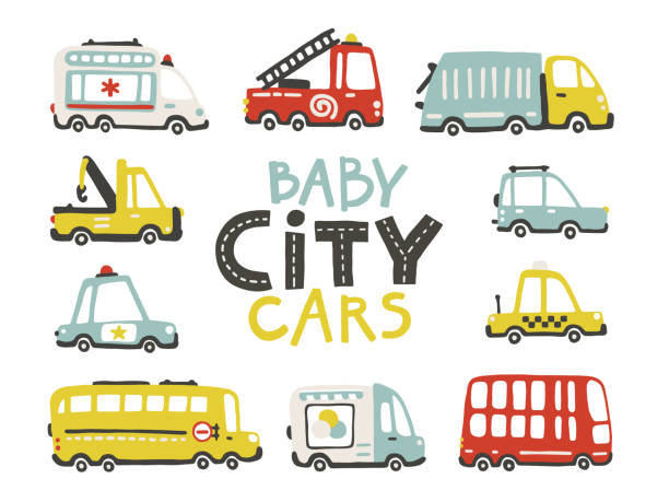stockillustraties, clipart, cartoons en iconen met baby stadsauto's collectie. schattig grappig vervoer. vector cartoon illustraties in eenvoudige kinderachtige hand-drawn scandinavische stijl voor kinderen. brandweer, ambulance, politie, bus, etc - alleen één jongensbaby