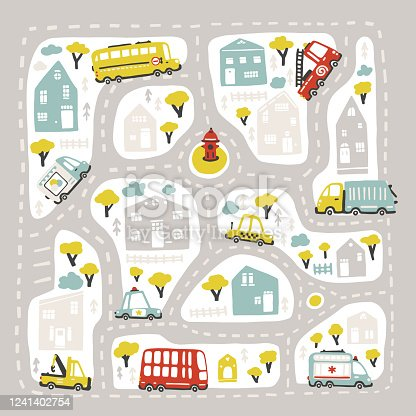 istock Baby City map with roads and transport. Vector illustration inscribed in a square shape. Cartoon childish hand-drawn scandinavian style. For nursery room, printing on game carpets, plaids, etc 1241402754