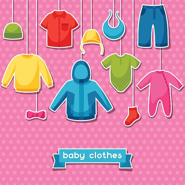 baby kleidung. hintergrund mit kleidung für babys und kinder - catsuit stock-grafiken, -clipart, -cartoons und -symbole