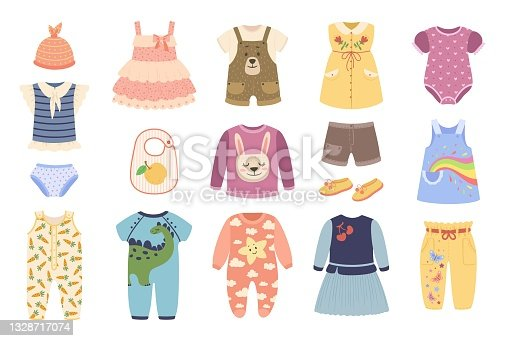 Baby clothes. Clothing for newborn babies. Bodysuit, romper, pajamas, dress, shoes. Cute child fashion apparel and accessories vector set