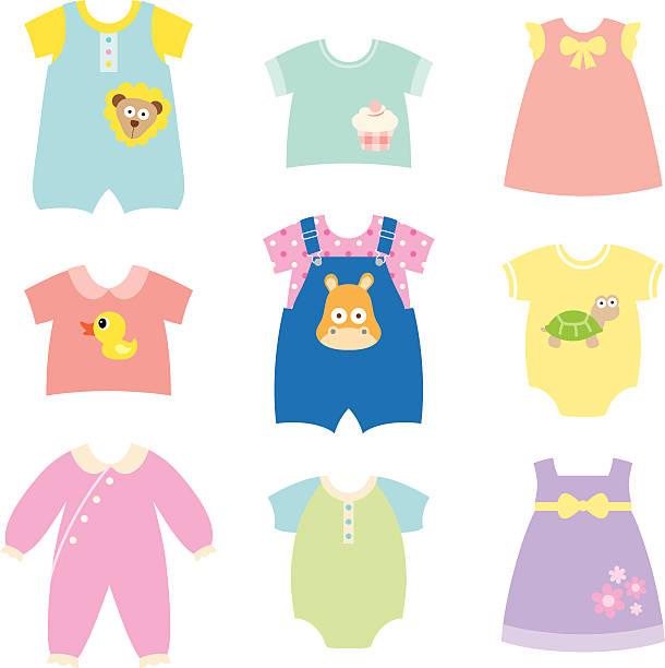 baby kleidung kollektion - pastellhosen stock-grafiken, -clipart, -cartoons und -symbole