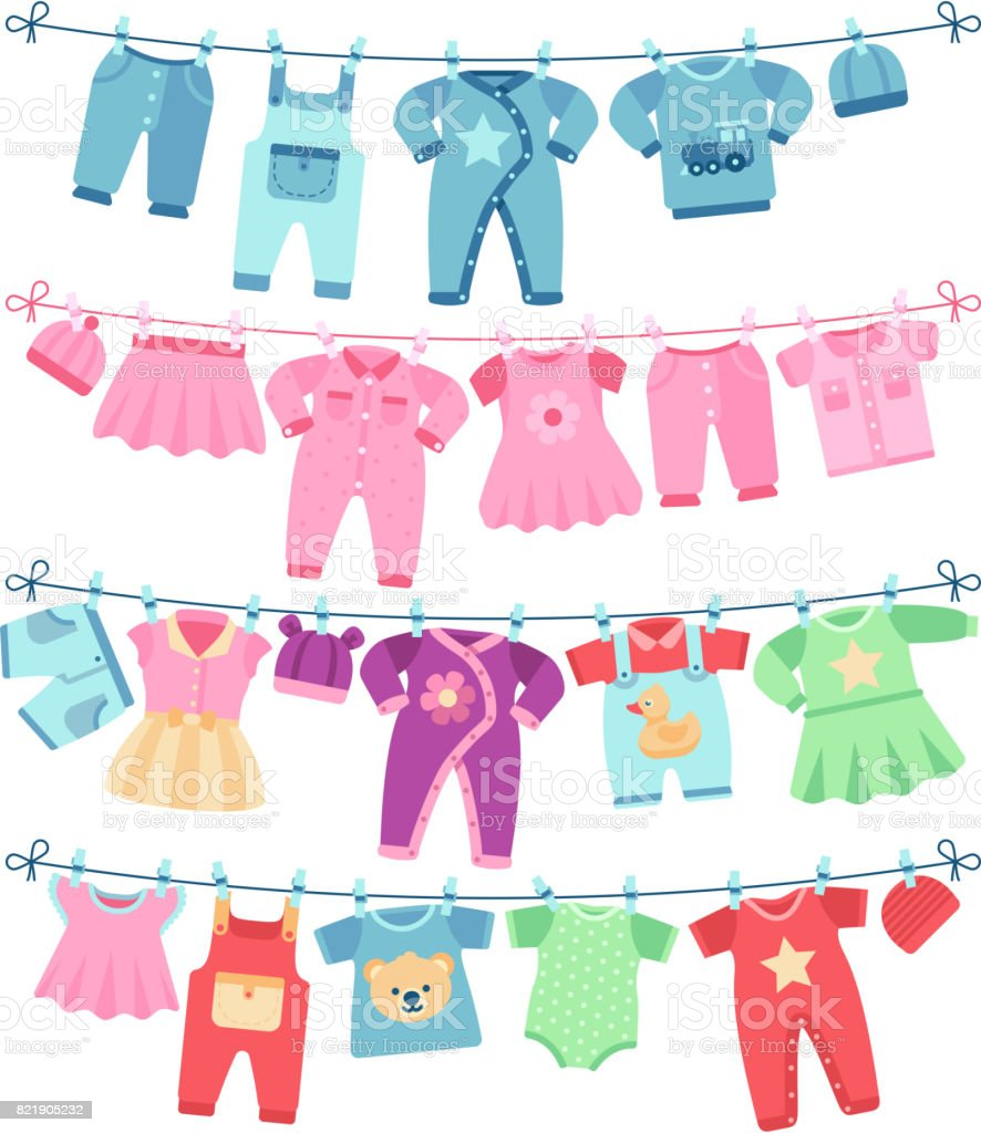 Baby clothes drying on clothesline vector illustration for Baby clothesline decoration baby shower