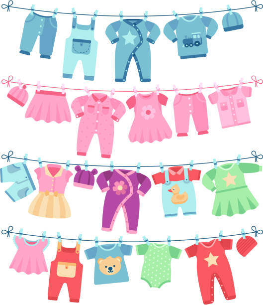 Baby clothes drying on clothesline vector illustration Baby clothes drying on clothesline vector illustration. Clothing baby clean, garment on clothesline baby clothing stock illustrations