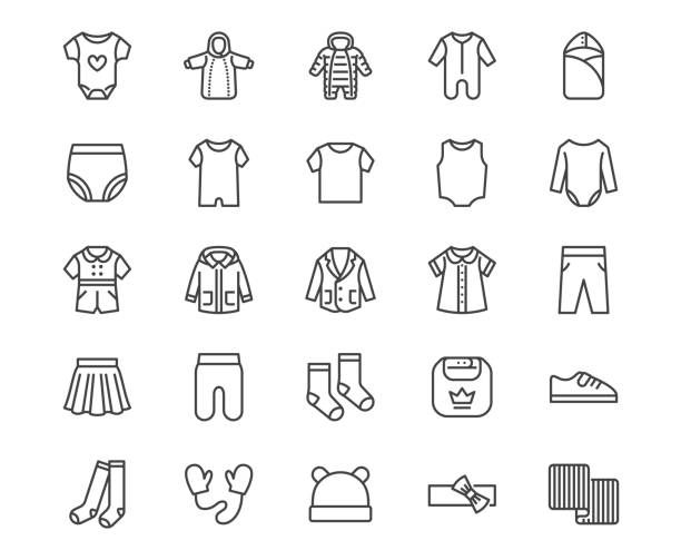 Baby clothes flat line icons set. Bodysuit, coverall, romper, buster suit, newborn nest, girl dress vector illustrations. Outline signs for children fashion store. Pixel perfect 64x64 Editable Stroke Baby clothes flat line icons set. Bodysuit, coverall, romper, buster suit, newborn nest, girl dress vector illustrations. Outline signs for children fashion store. Pixel perfect 64x64 Editable Stroke. baby clothing stock illustrations