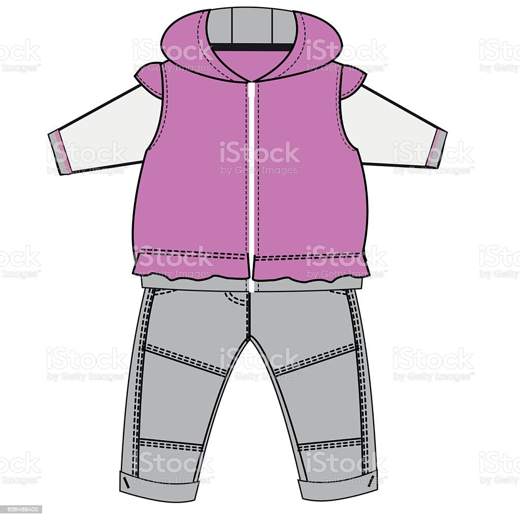 Baby Clothes Flat Sketch Template Isolated Stock Vector Art & More ...