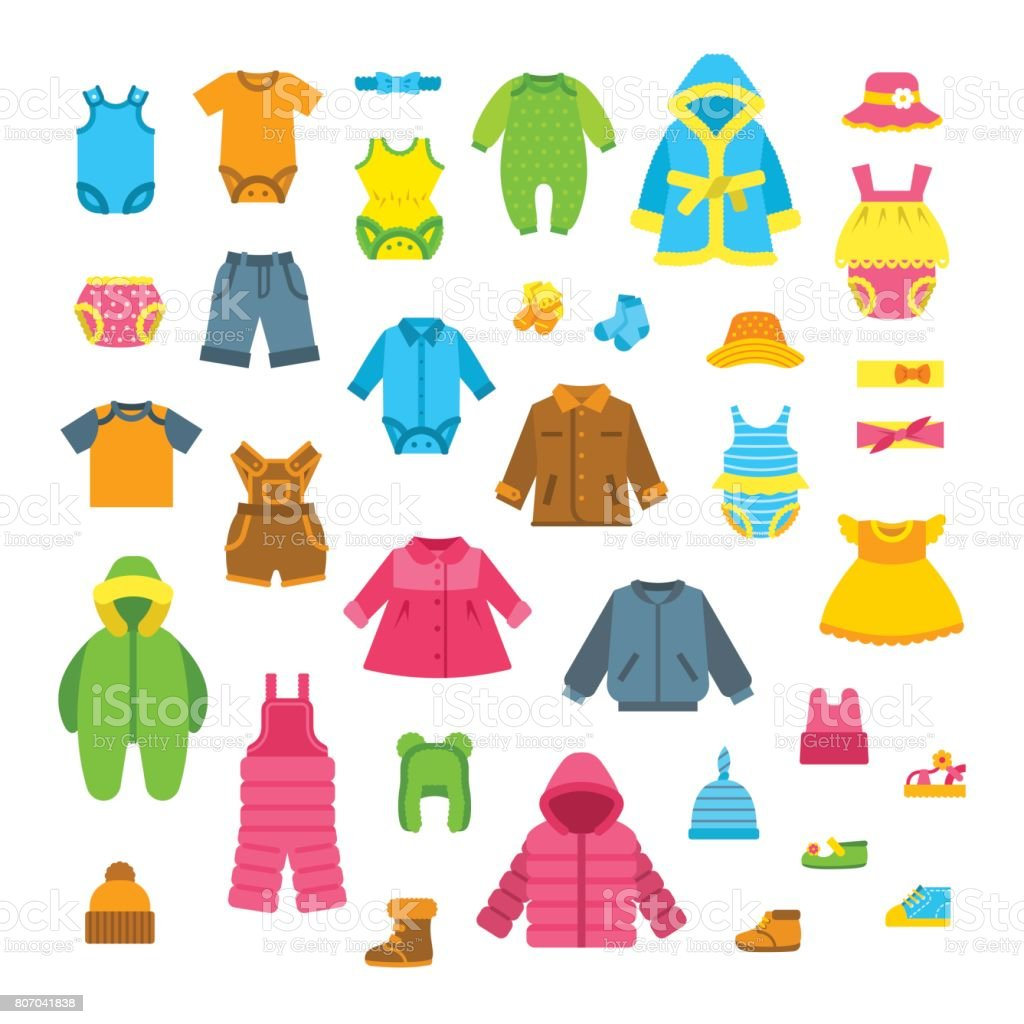 Baby clothes flat vector illustrations set vector art illustration