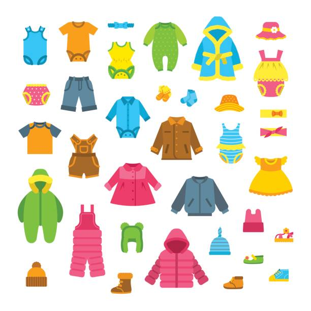 baby kleidung flache vektor-illustrationen-set - catsuit stock-grafiken, -clipart, -cartoons und -symbole