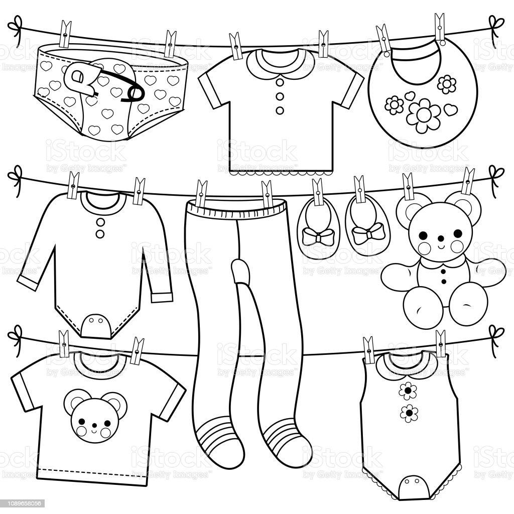 Kleurplaten Baby Shower.De Kleren Van De Baby Kleding Lijn Hangen Zwartwit