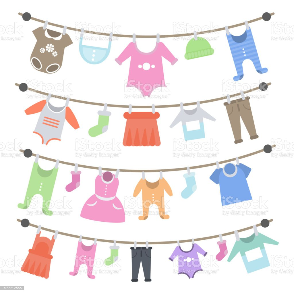 Baby clothes hanging. vector art illustration