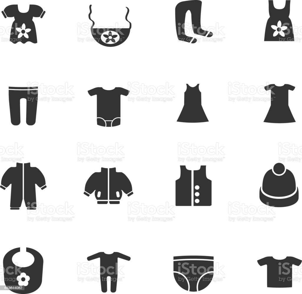 Baby Clothes Icon Set Stock Vector Art More Images Of Cap