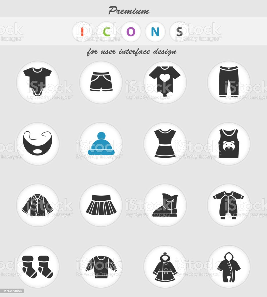 baby clothes icon set vector art illustration