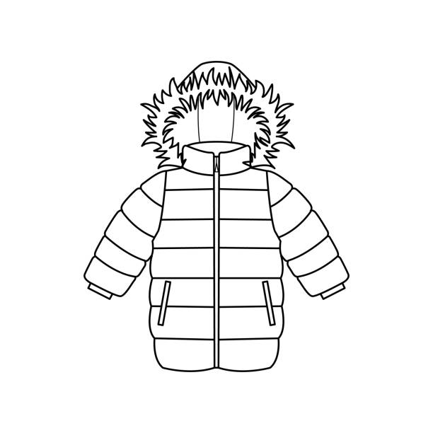 Line Drawing Jacket : Royalty free padded jacket clip art vector images