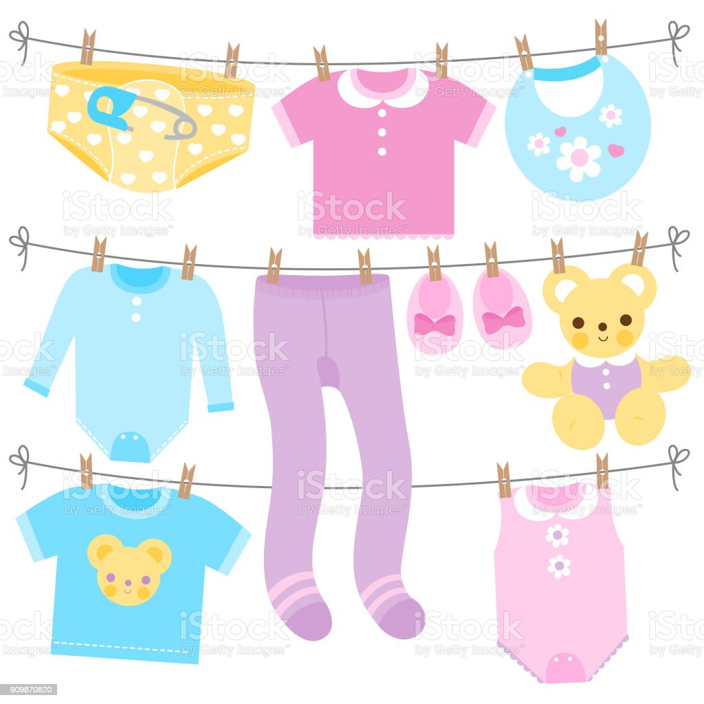 Baby Clothes In Blue Yellow Purple And Pink Colors Vector Collection
