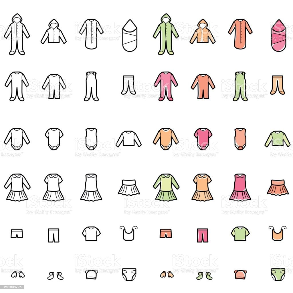 Baby Clothes Line Icons Set vector art illustration
