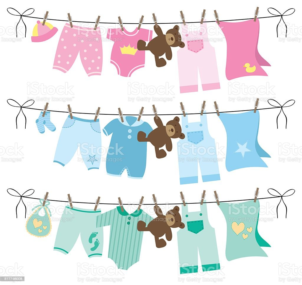 Baby Clothes Clothesline Vector Illustration