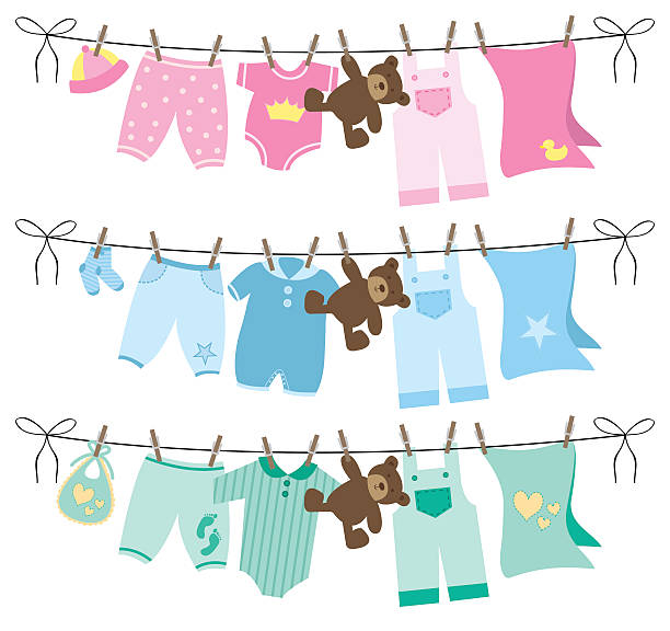 Baby clothes on clothesline vector illustration Vector set of baby clothes on clothesline illustration baby clothing stock illustrations