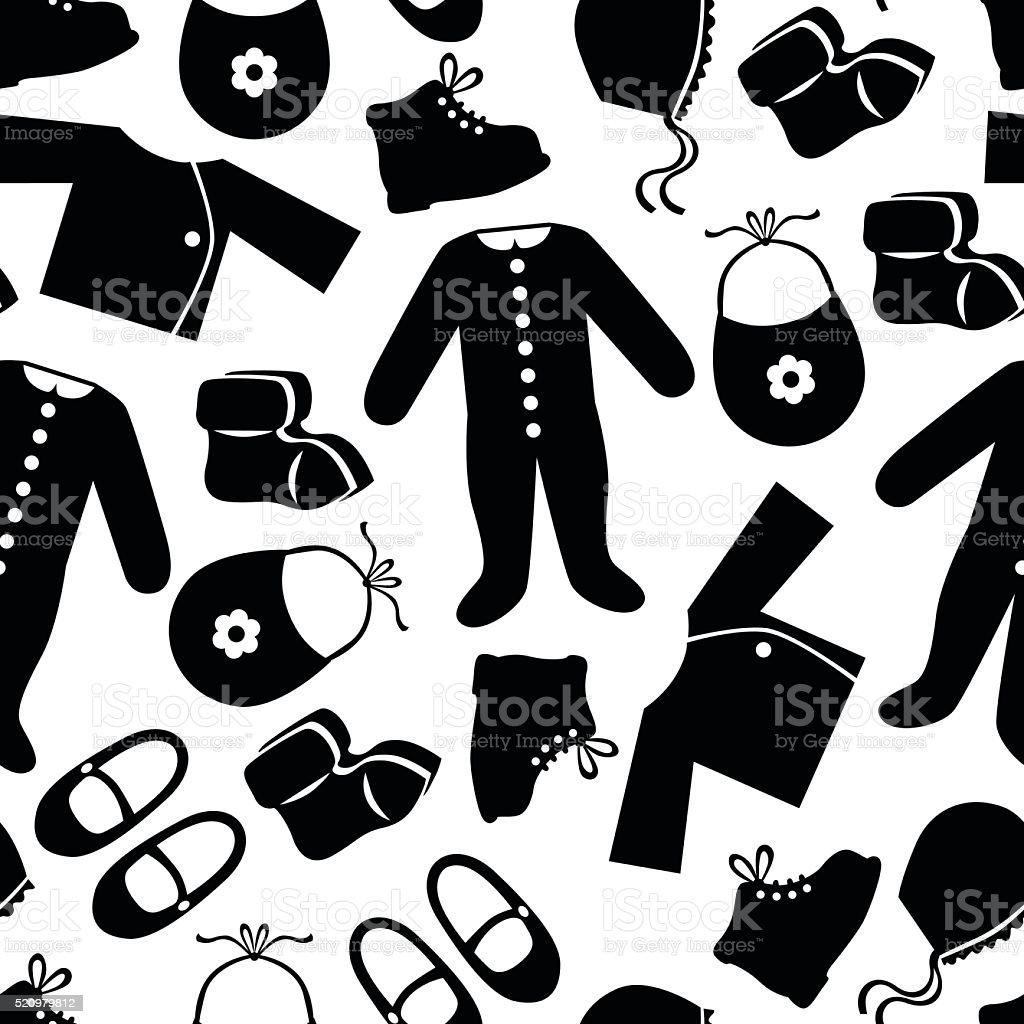 Patrón Sin Costuras De Ropa De Bebés Illustracion Libre de Derechos ...