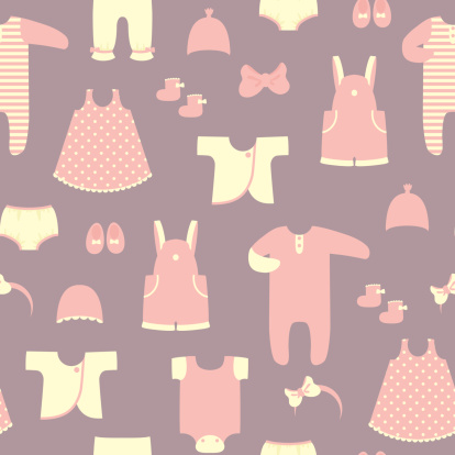 Baby clothes set. Seamless vector background.