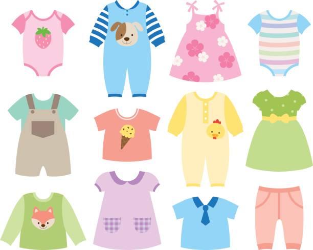 baby-kleidung-set - pastellhosen stock-grafiken, -clipart, -cartoons und -symbole