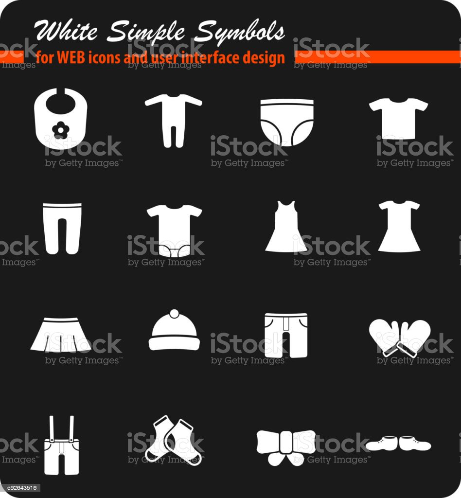 Baby clothes simply icons vector art illustration
