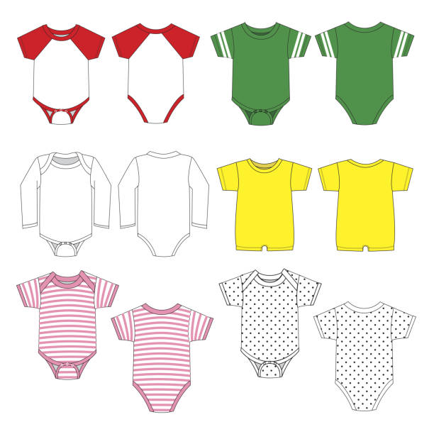 Baby clothes template Vector baby clothes template infant bodysuit stock illustrations