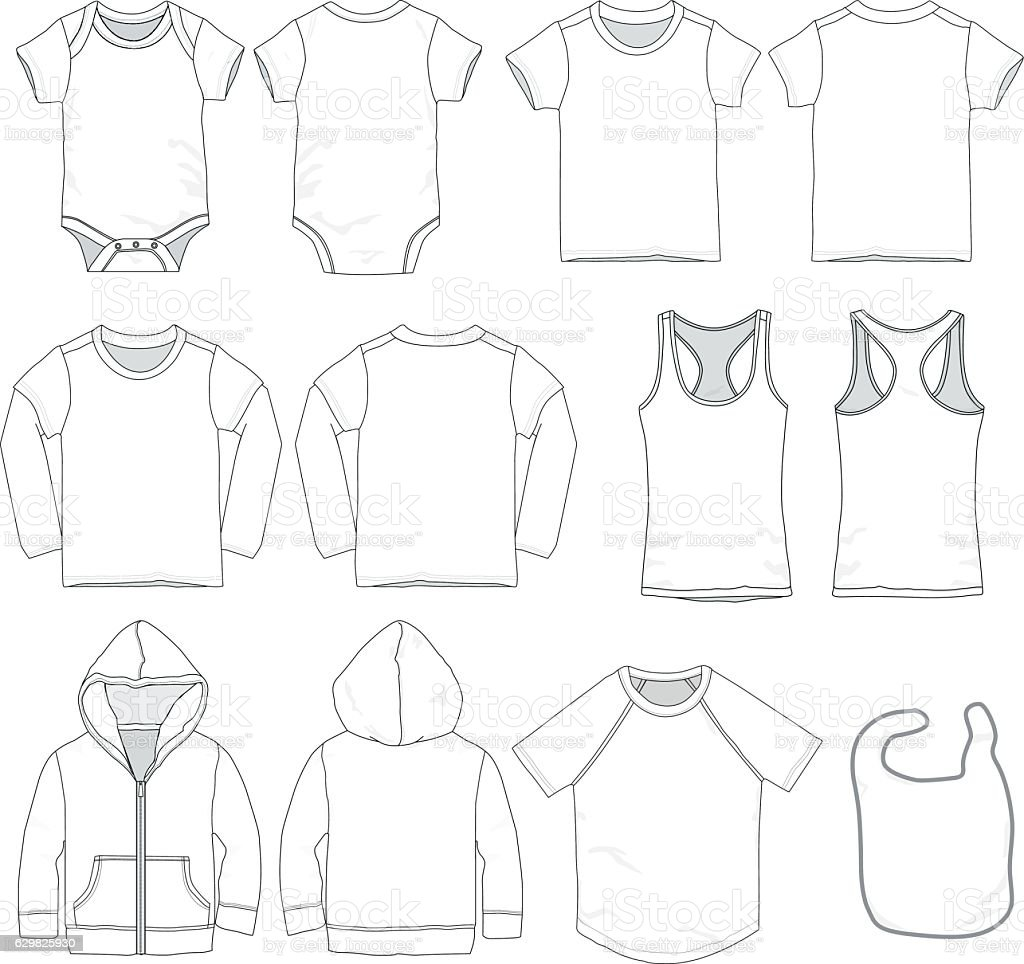 Baby Clothes Templates Stock Vector Art & More Images of 12-17 ...