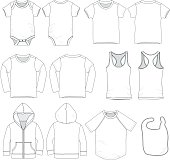 Infant and toddler baby clothes templates for mock up.