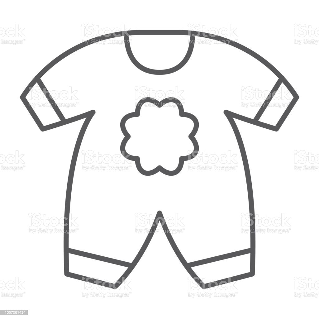 e04ce6c9f2bd Baby Clothes Thin Line Icon Kid And Clothing Body Dress Sign Vector ...
