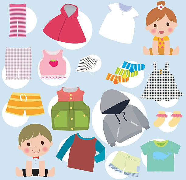 baby clothes - vector color illustration - bodysuit stock-grafiken, -clipart, -cartoons und -symbole