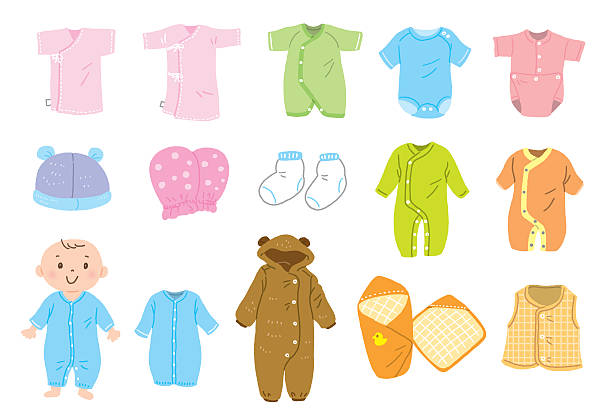 Baby clothes vector art illustration