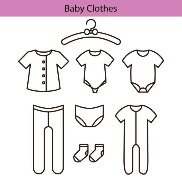 baby-kleidung vektor linie symbole - bodysuit stock-grafiken, -clipart, -cartoons und -symbole