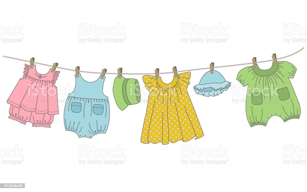 Baby clothing hang on the clothesline vector art illustration